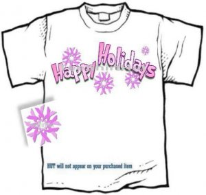 T-shirt, HAPPY HOLIDAYS, Breast Cancer Awareness - (Adult - xLg, xxLg)