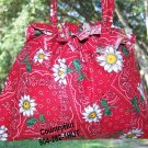 red Bandana Gift Bag - Draw string handbag - pouch