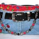 Lady Bug - Denim Handbag  Embroidered purse