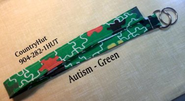 Autism Awareness - Green - Key Holder - Handmade Lanyard - Lanyards