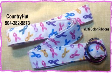 Multi Color Awareness Ribbons - Teal Pink Purple Yellow Blue - Key Holder - Handmade Lanyard