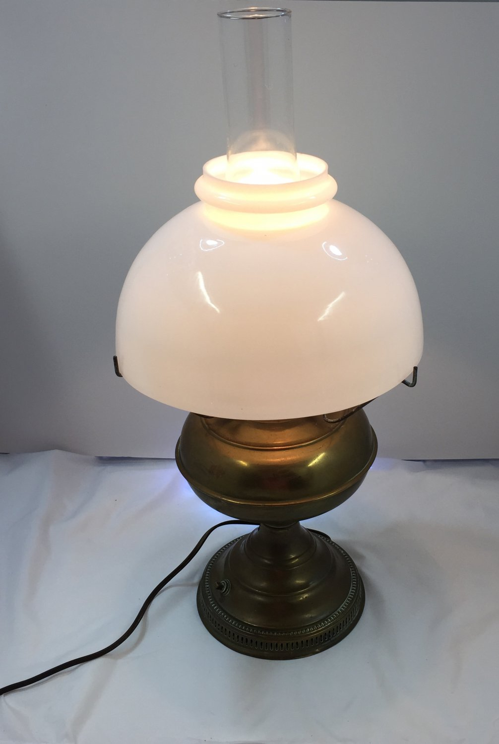 Vintage Electrified Brass Oil Lamp with Large Milk Glass Shade
