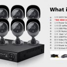 16ch CCTV system HD 1080p 720p 960h Home Security DVR Video recorder kit w/ 8 Cameras (#1000000007)
