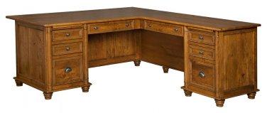 Amish Corner Computer Desk L Shaped Traditional Solid Wood Office Furniture
