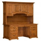 "Amish 70"" Executive Computer Desk Hutch Home Office Solid Wood Oak Maple Rustic"