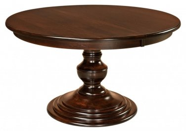 "Amish Round Pedestal Dining Table Modern Traditional Solid Wood 48"", 54"", 60"""