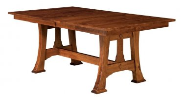 Amish Mission Trestle Dining Table Rectangle Extending Leaf Solid Wood Rustic