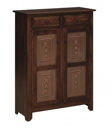 Amish Pie Safe Jelly Pantry Solid Wood Kitchen Storage Cabinet Cupboard Stars