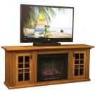 Amish Plasma LCD TV Stand Media Cabinet Electric Fireplace Solid Wood Storage