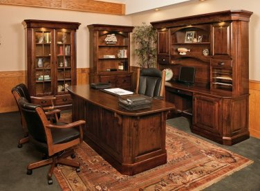 Luxury Amish Traditional Executive Computer Desk Office Furniture Solid Wood