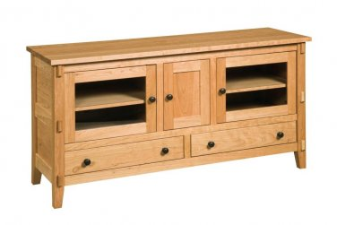 "Amish 60"" Mission Transitional TV Stand Cabinet Solid Wood Glass Doors Drawers"