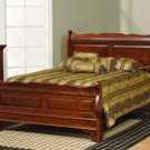 Amish Solid Wood Sleigh Raised Panel Bed Bedroom Furniture King Queen Full
