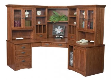 Amish Large Corner Computer Desk Hutch Bookcase Home Office Solid Wood Furniture
