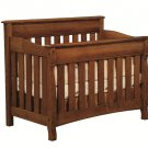 Amish Baby Crib Solid Wood Nursery Furniture Conversion Toddler Bed Full Size