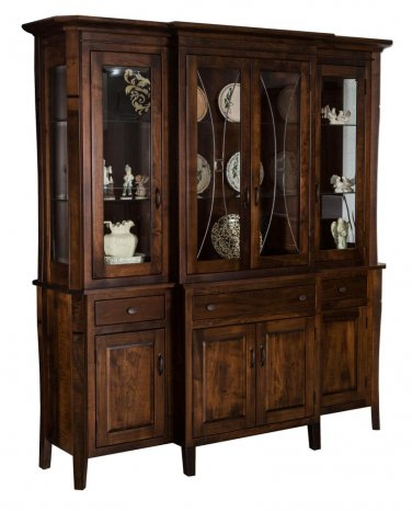 Amish Candice 4-Door Hutch Dining Room Furniture Leaded Glass Doors Solid Wood