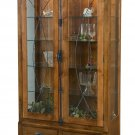 Amish Barstow Curio Cabinet Bookcase Solid Wood Leaded Glass Doors Drawers