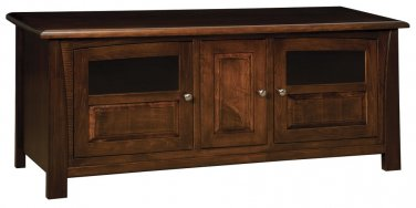 "Amish Solid Wood TV Stand 66"" Console Cabinet Plasma LCD Media Glass Doors"