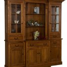 Amish Mission 4-Door Hutch Dining Room Furniture Glass Solid Wood Oak Cherry