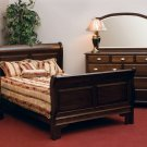 Luxury Amish Rustic Sleigh Panel Heirloom Bedroom Set Solid Wood Full Queen King