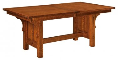 Amish Mission Plank Trestle Dining Table Rectangle Solid Wood Rustic Furniture