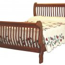 Amish Mission Slat Sleigh Bed Solid Hardwood Bedroom Furniture King Queen Full