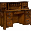 Amish Computer Desk Hutch Topper Solid Wood Home Office Furniture File Mission