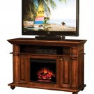 Amish TV Stand Electric Fireplace Media Component Storage Cabinet Solid Wood