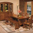 Amish Mission Trestle Dining Table Chairs Set Wood Rustic Farmhouse Country New