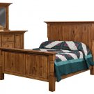 Luxury Amish Rustic Bedroom Set Solid Hickory Wood Furniture Queen King Size