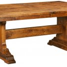 Amish Rustic Trestle Dining Table Bench Rectangle Extending Solid Wood Rustic