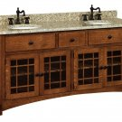 "Amish Bathroom Vanity Free Standing Sink Cabinet Granite Top 72""w Solid Wood"