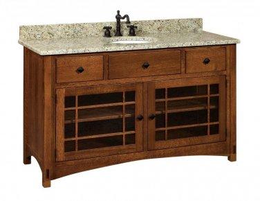 """Amish Mission Bathroom Vanity Free Standing Sink Granite Top 60""""w Solid Wood"""