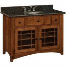 "Amish Mission Bathroom Vanity Free Standing Sink Cabinet Granite Top 48"" Wood"
