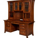 """73"""" Amish Executive Computer File Desk Hutch Home Office Solid Wood Furniture"""