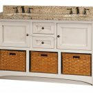 "Amish Cottage Bathroom Vanity Free Standing Sink Granite Top Baskets 60""w Solid"