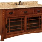 "Amish Mission Bathroom Vanity Free Standing Sink Granite Top 60""w Solid Inlays"