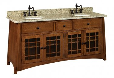 "Amish Mission Bathroom Vanity Free Standing Sink Cabinet Granite Top 72"" Wood"