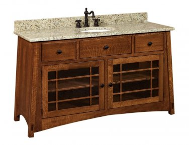 "Amish McCoy Mission Bathroom Vanity Free Standing Sink Cabinet Granite Top 60""w"