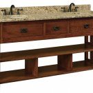"Amish Bathroom Vanity Free Standing Sink Cabinet Granite Top 72"" Solid Wood"