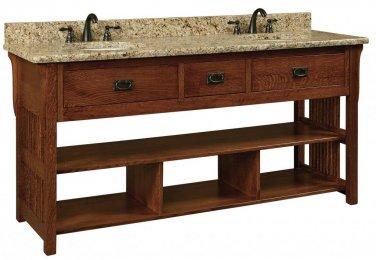 """Amish Bathroom Vanity Free Standing Sink Cabinet Granite Top 72"""" Solid Wood"""