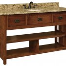 "Amish Bathroom Vanity Free Standing Sink Cabinet Granite Top 60""w Solid Wood"