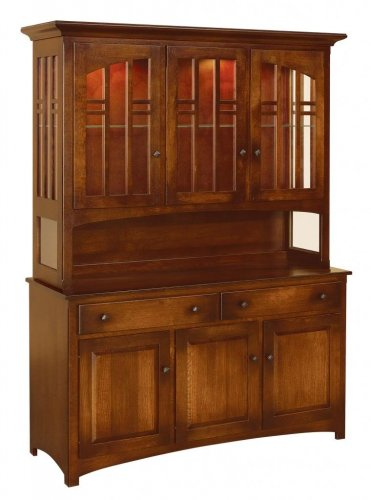 Amish Cascade Arts & Crafts Hutch China Cabinet Solid Wood