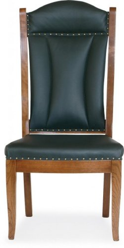 Amish Office Side Chair Solid Wood Leather Nail heads