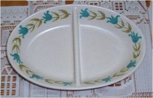 FRANCISCAN TULIP TIME OVAL DIVIDED VEGETABLE BOWL
