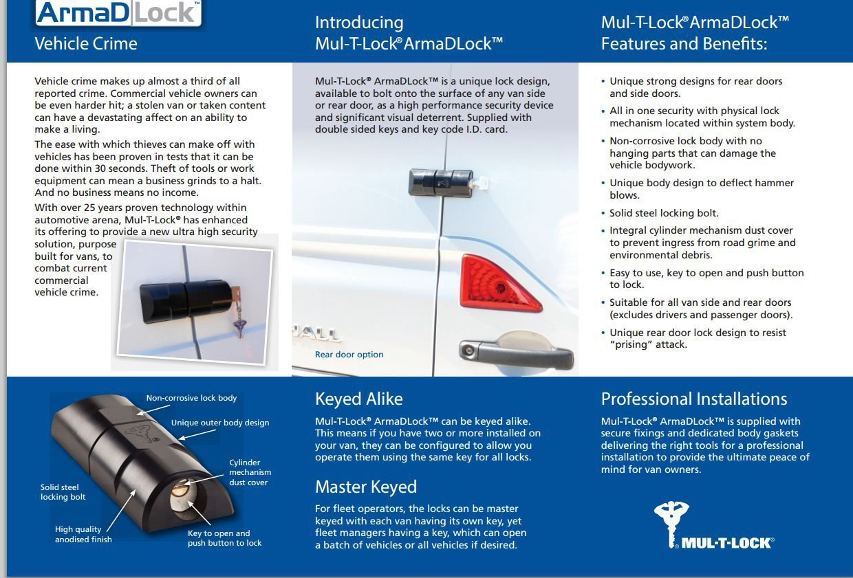 Mul-t-lock  van security lock rear + side sliding door lock 4 keys hasp latch