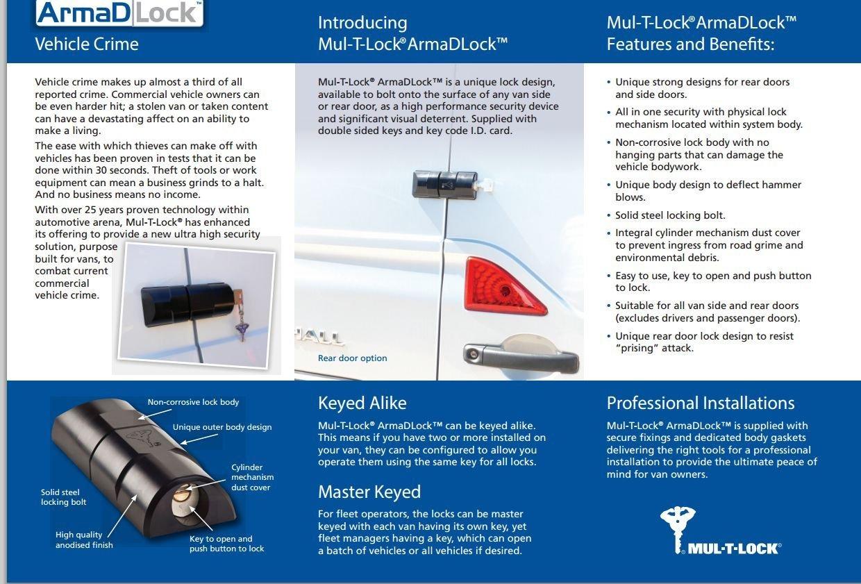Newest! Mul-t-lock ArmaDlock van security lock, rear side sliding door hasp