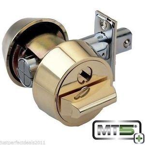 Mul-t-lock MT5+ Hercular Double Cylinder Captive key Deadbolt - Bright Brass