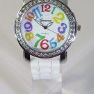 Geneva Women's Platinum Watch Large Round Face White Silicone Band Big Numbers