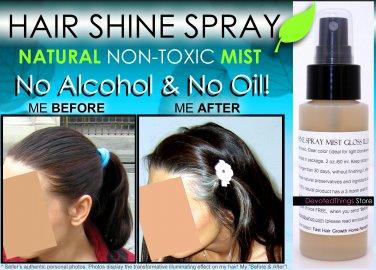BEST HAIR SHINE SPRAY MIST GLOSS CLEAR ILLUMINATOR NO OIL NO ALCOHOL NATURAL NON TOXIC