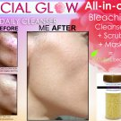 FACIAL GLOW Scrub & Mask Daily Cleanser Acne Scars Skin Bleaching Soap Natural Herbal Bleach